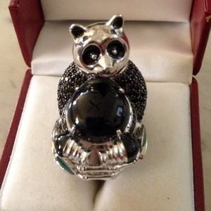Jewelry - NWT*STERLING SILVER BLACK SPINEL & JADE PANDA RING